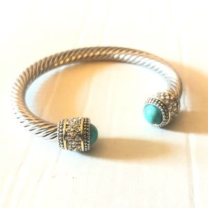 Jewelry - Cable Cuff Bracelet - Turquoise